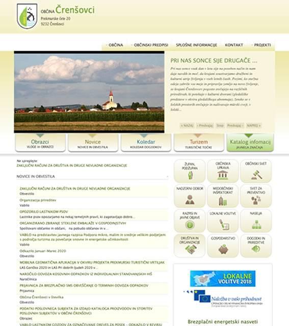 spletna stran občine črenšovci